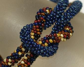 Rochelle / Knotted Bead Crochet Rope Bracelet / Earthy Colors  & Dark Navy Blue / Unisex Jewelry / Czech glass beads / Southwest Jewelry