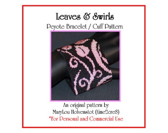 LEAVES and SWIRLS Peyote Cuff Bracelet Pattern / Beadwoven Jewelry Tutorial / PDF Digital Download / 3 for price of 2 / Leaf Abstract Vines