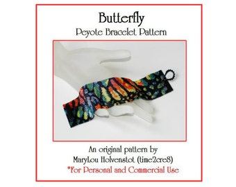 BUTTERFLY Peyote Cuff Bracelet Pattern / Beadwoven Jewelry Tutorial / PDF Digital Download / 3 for price of 2 / Monarch Animal Insect Colors