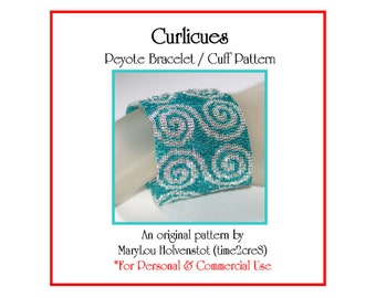 CURLICUES Peyote Cuff Bracelet Pattern / Beadwoven Jewelry Tutorial / PDF Digital Download / 3 for price of 2 / Bonus Pattern / Swirls Curls