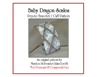 BABY DRAGON Scales Peyote Cuff Bracelet Pattern / Beadwoven Jewelry Tutorial / PDF Digital Download / 3 for price of 2 / Fantasy Creature