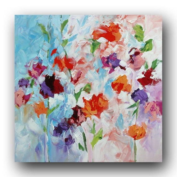 Abstract Floral Painting Original Impressionist Art Flowers Modern Painting Roses Red Purple Acrylic Painting Canvas Painting Linda Monfort
