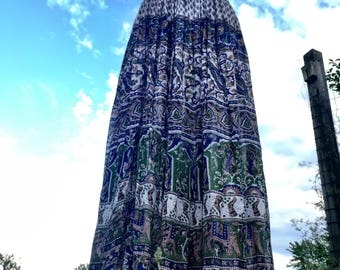 70s gauze skirt/ Free sz Block Print Skirt/Boho Dress/ Hippie dress