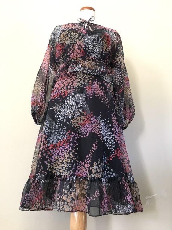 Vintage 70s Dress/ 70s Bohemian Dress/70s Dress S… - image 4