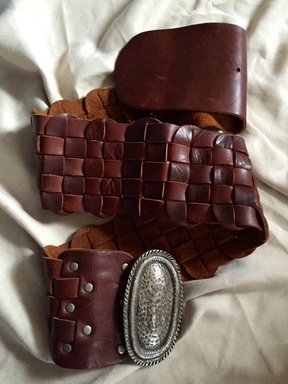 Vintage Leather Belt/ Bohemian Leather Belt/Vintag