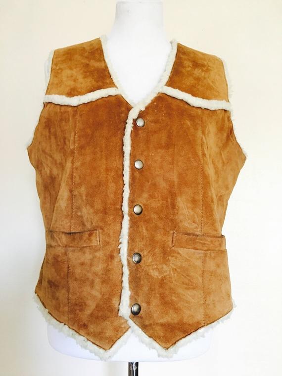 Vintage Vest/Sherpa Vest/Leather Vest/Shearling  V