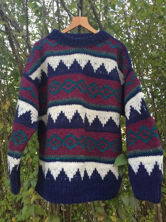Vintage Wool Sweater/Ski Sweater/ Wool Sweater/ Bo