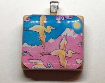 Herons and Mountains Scrabble Tile Pendant