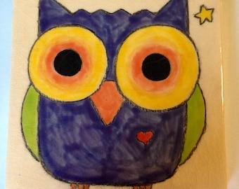Owl Original Handmade Art Tile