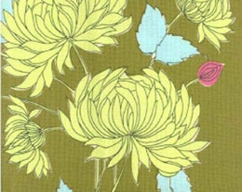 Amy Butler Belle Collection Chrysanthemum Olive Quilting Fabric BTY