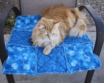 Blue Cat Blanket, Small Dog Blanket, Pet Supplies, Pet Bedding, Handmade Pet Blanket, Pet Quilt, Washable Pet Blanket, Luxury Pet Blanket
