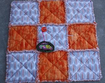 Cat Blanket, Personal Pet Blanket, Handmade Pet Bedding, Washable Pet Bedding, Travel Pet Bed, Orange Pet Blanket, Crate Mat, Fabric Cat Bed
