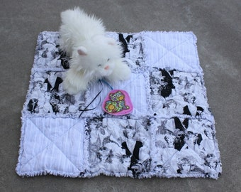Silver and Black Cat Blanket, Dog Bed, Travel Pad for Pets, Flapper Girls Cat Bed, Pet Quilt, Kitten Patchwork Lap Quilt, Blanket for Pets