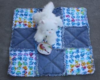 Recycled Denim Pet Blanket, Denim Pet Mat, Washable Cat Bed, Pet Stroller Pad, Travel Pet Bedding, Denim and Flannel Pet Quilt, Catnip Toy