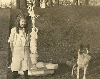 Cute Edwardian girl with pet collie vintage photo animal dog fountain swan outdoor vernacular