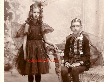 Rare Fairy insect antique cabinet card dark fae photo wings theater bug Victorian goth unusual