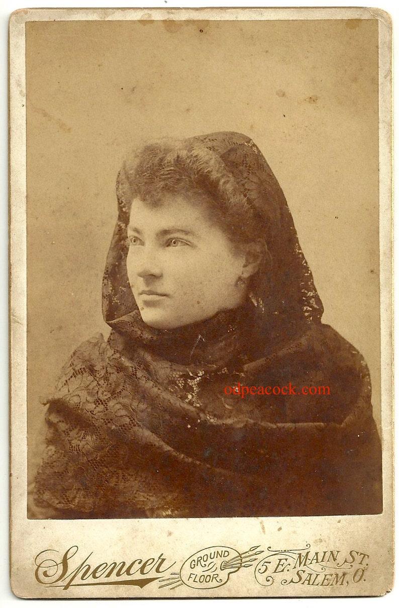 Exotic veil black lace gothic oddity mystical woman vintage image 0