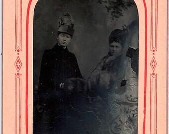 1887 tintype winter girls muff Reed City photo Id'd hats