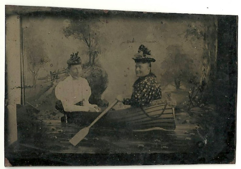 Tintype prop boat women in comic pose Victorian vintage photo image 0