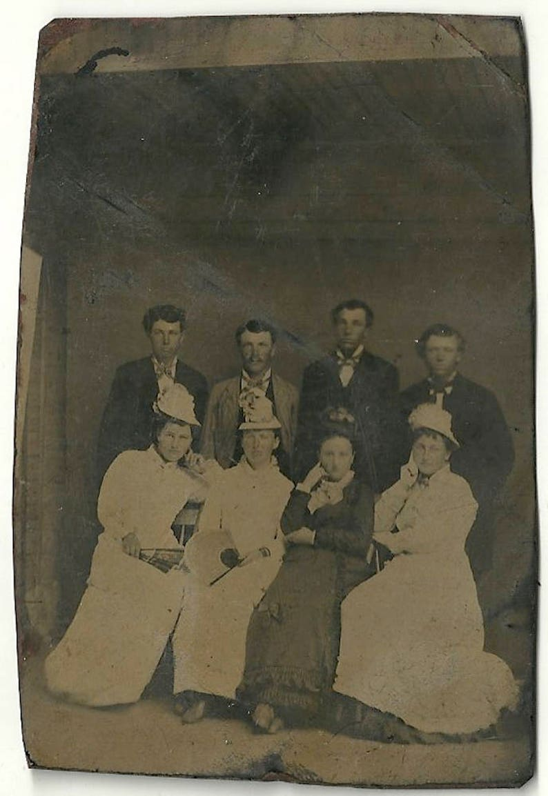 Afternoon with a fan group tintype indoor vintage photo image 0