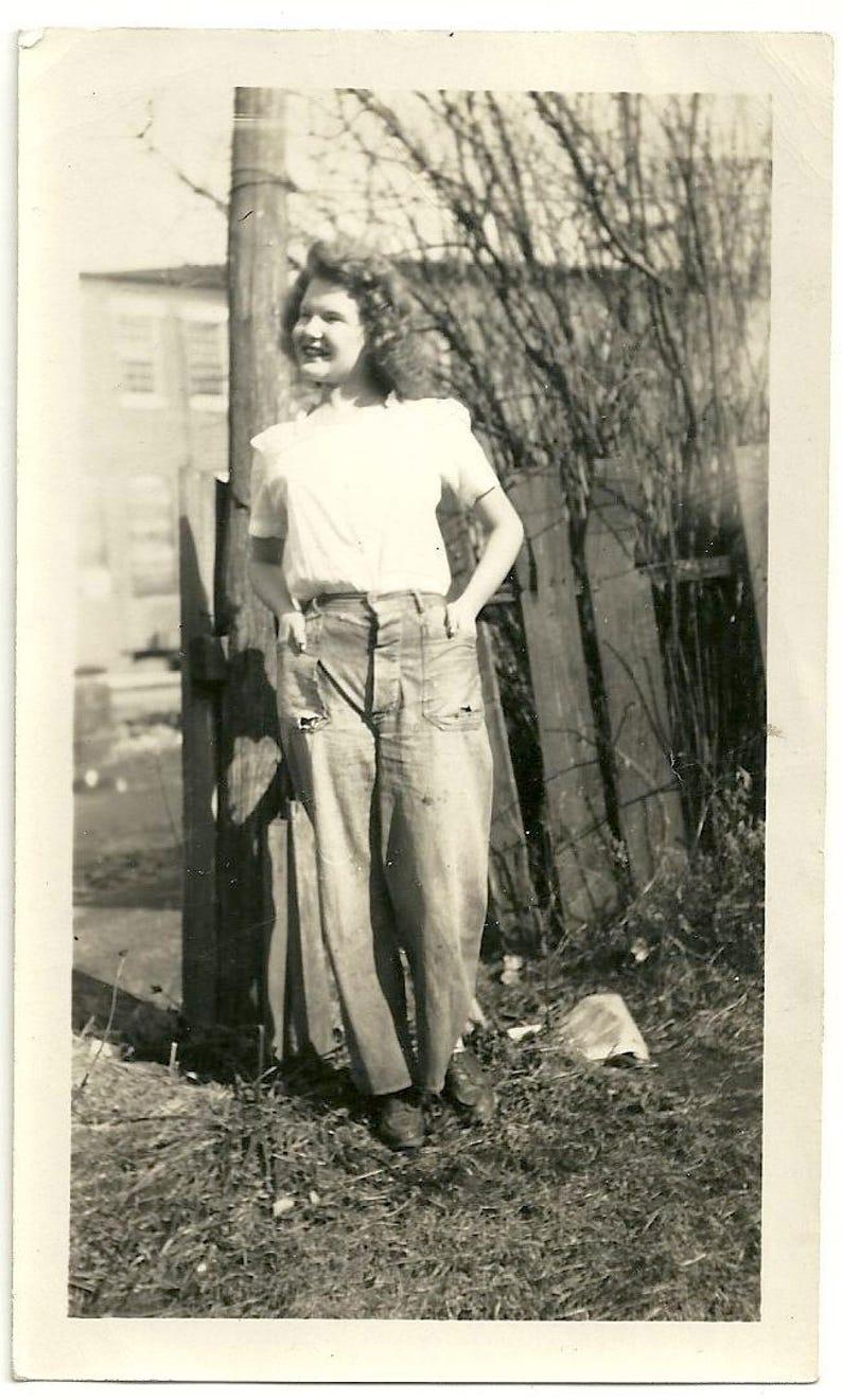 Super cute vintage photo girl in pants jeans work wear curls image 0