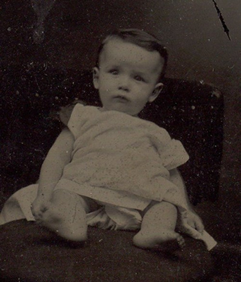 Adorable baby tintype Mark vintage photo identified Victorian image 0