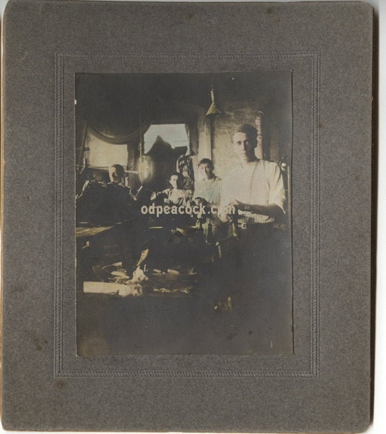 Vintage Occupational photo shoemakers shoes tinted factory image 0