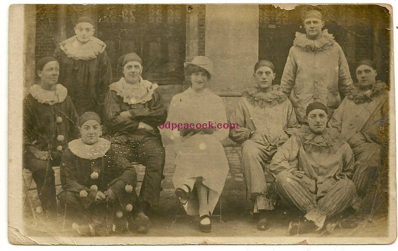 Creepy clown gang pierrot real photo postcard costume circus image 0