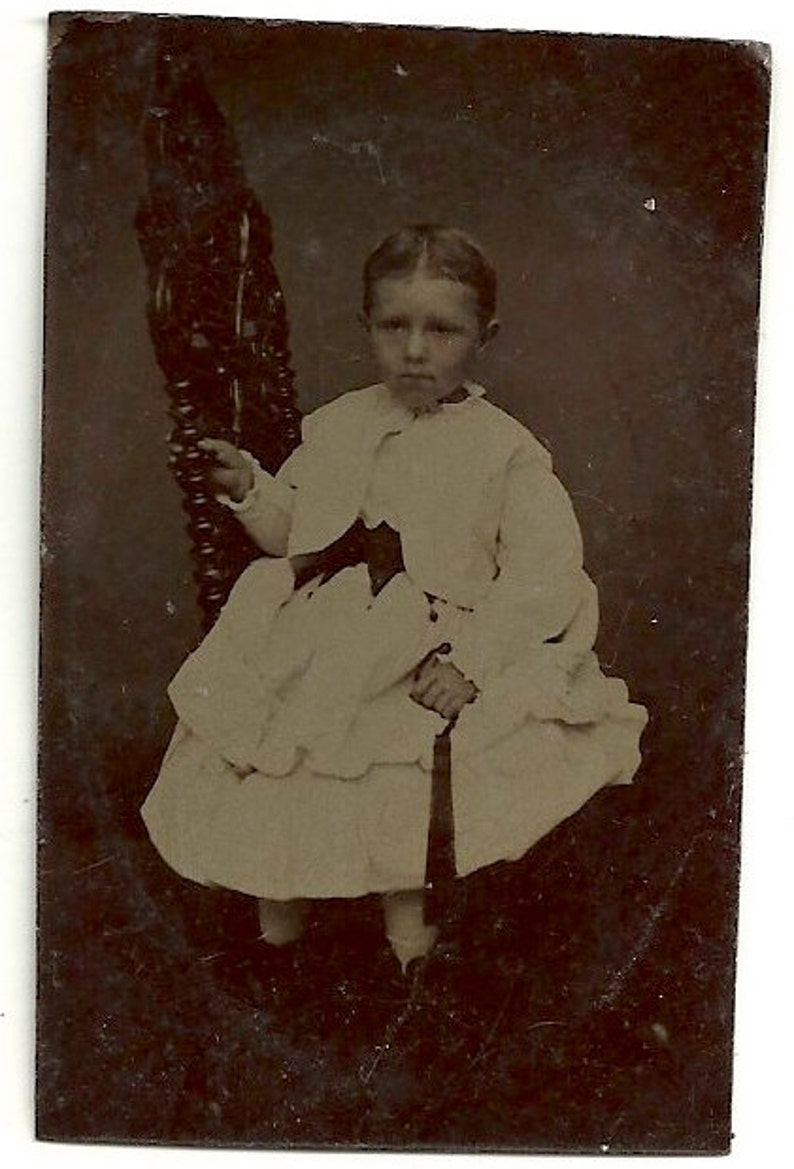 Tintype child with fan boy in dress antique victorian fan image 0