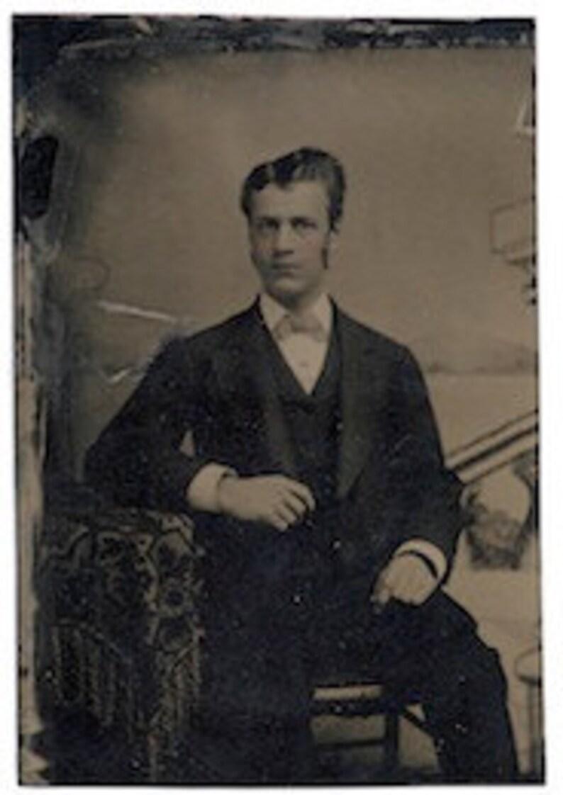 Dapper tinted tintype dandy civil war era gentleman image 0