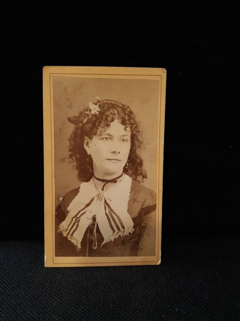Stunning dark hair curls choker vintage cdv photo Coughlan image 0