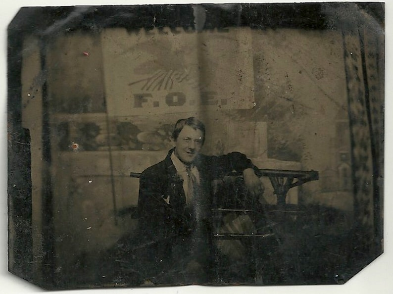 Tintype fraternal order of eagles 1/6th plate civic social image 0
