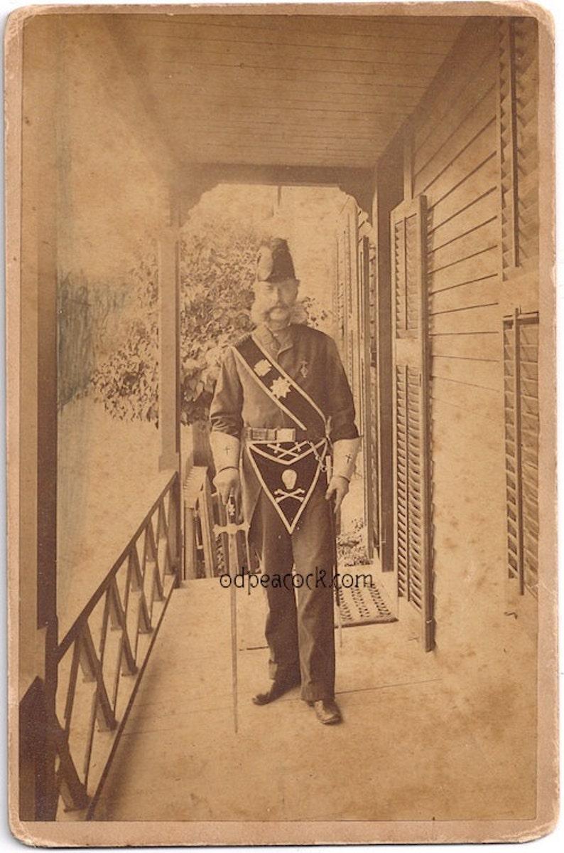 Mason skull uniform secret society 1800s cabinet card photo image 0