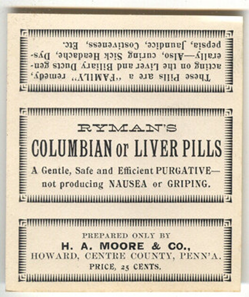 apothecary advertising label liver pills drug medicine vintage image 0