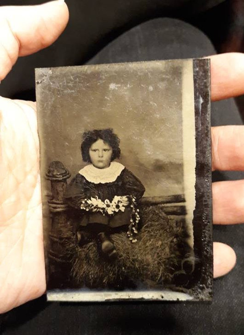 Chain of flowers tintype daisy flower floral brooding little image 0