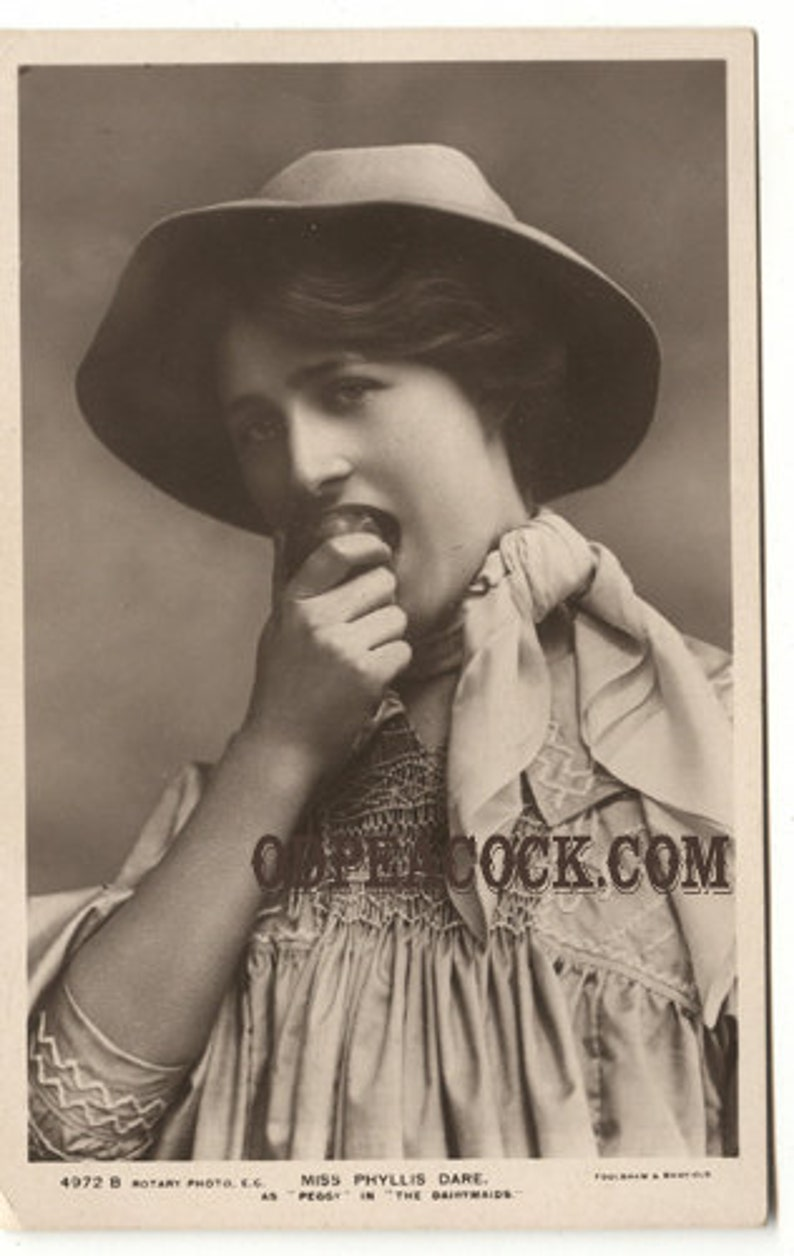 Phyllis Dare postcard Edwardian pretty lady apple actress image 0