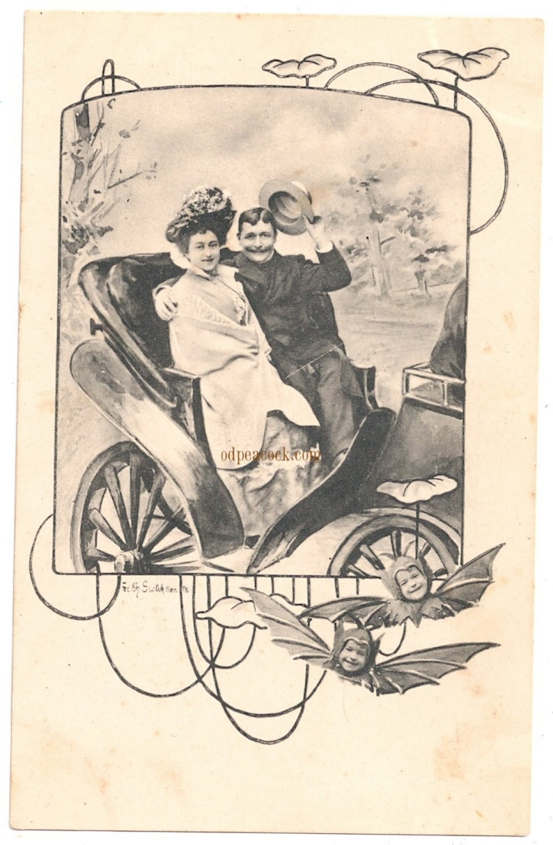 Odd Halloween postcard bat kids car driving novelty image 0