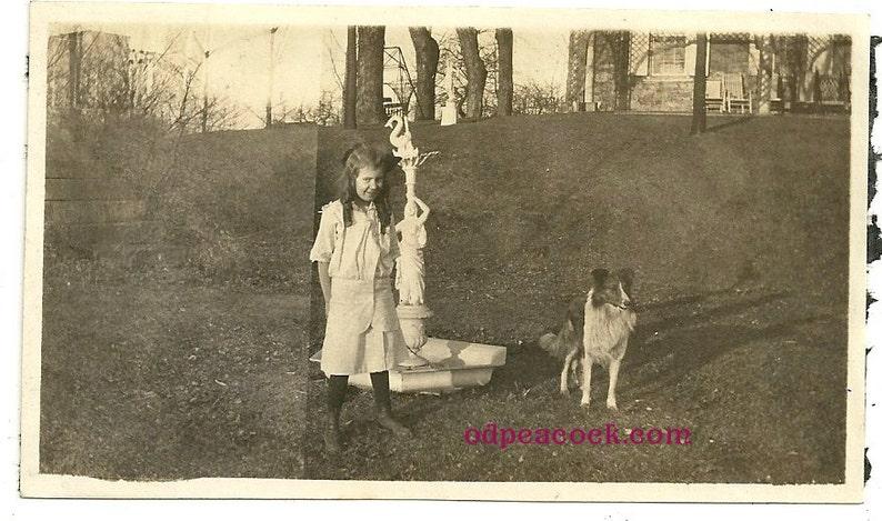 Cute Edwardian girl with pet collie vintage photo animal dog image 0