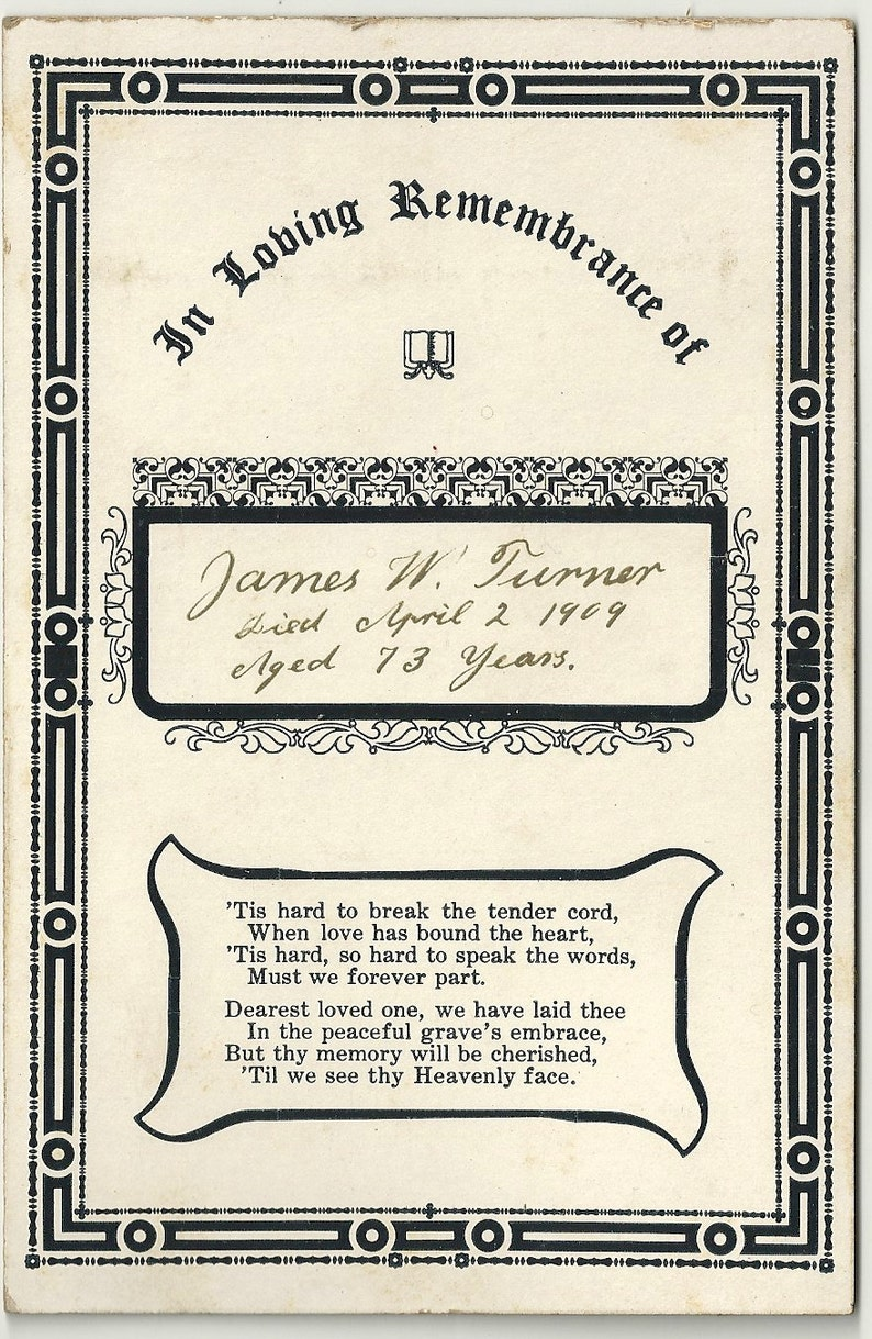 Memorial mourning death funeral card Baltimore Maryland Turner image 0