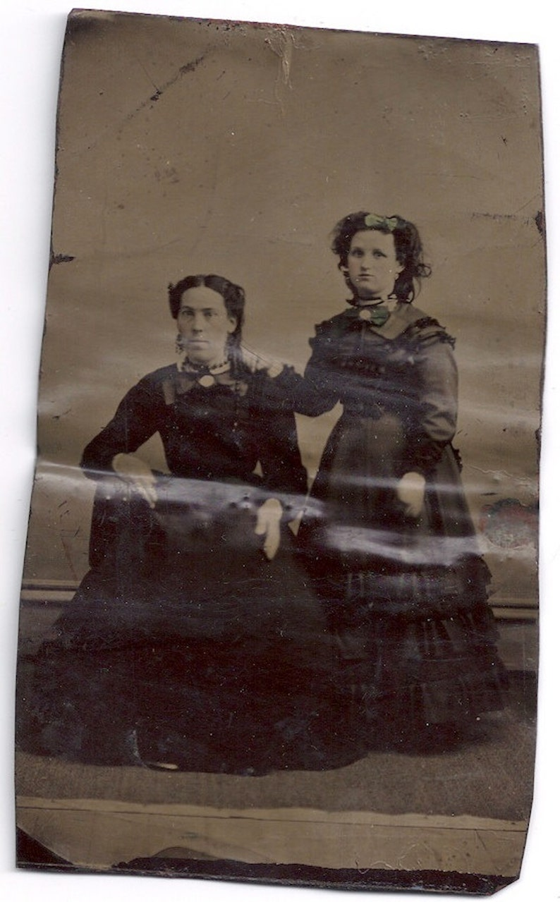1/4 plate tintype Mother daughter  fashion civil war era image 0
