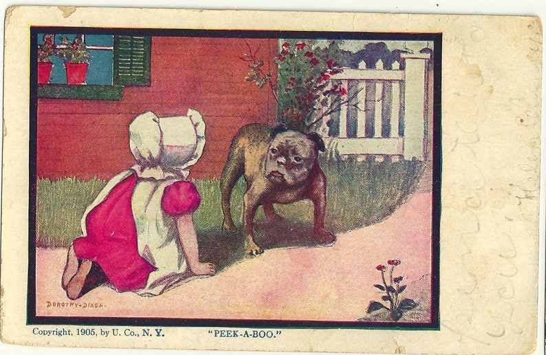 Vintage english bulldog postcard Peek a Boo image bonnet child image 0