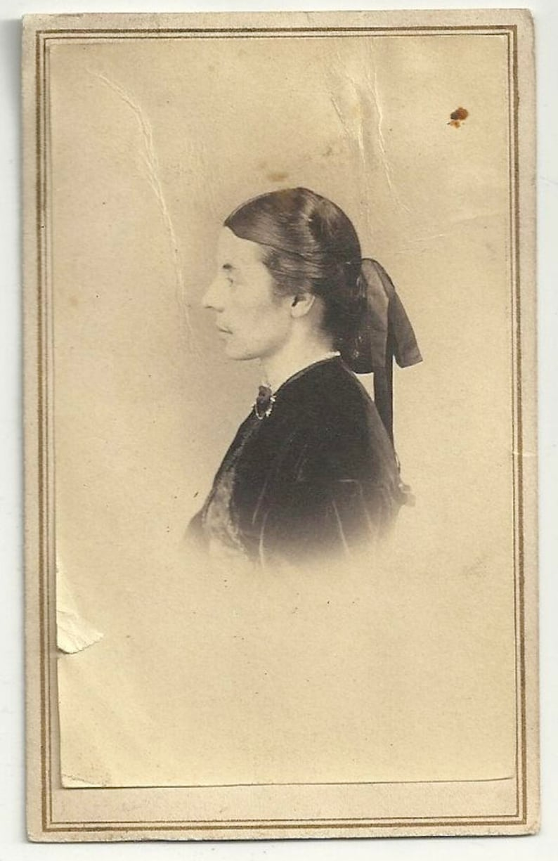 Profile cdv vintage photo Victorian woman civil war era image 0