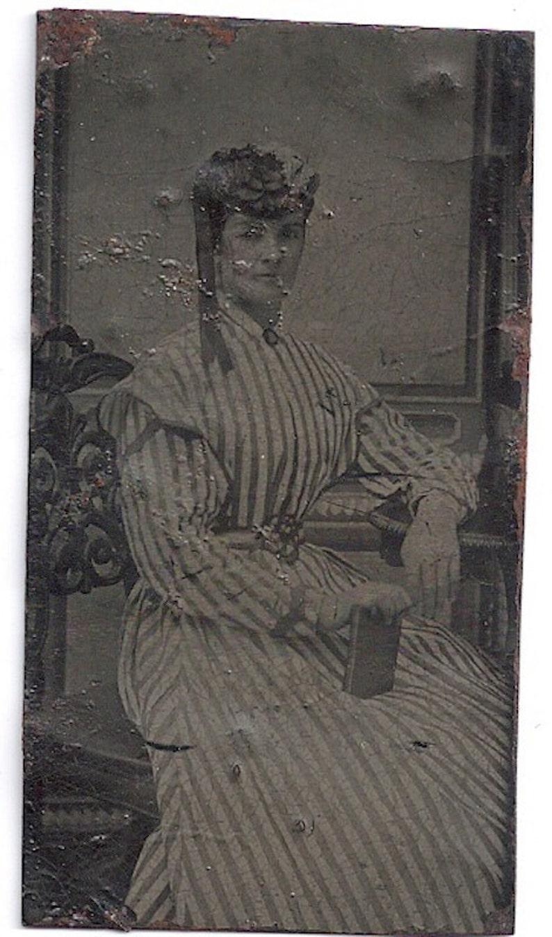Baltimore tintype striped dress Victorian lady dress fashion image 0