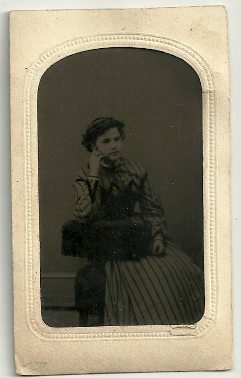 Young girl tintype striped dress chair curly hair teen image 0