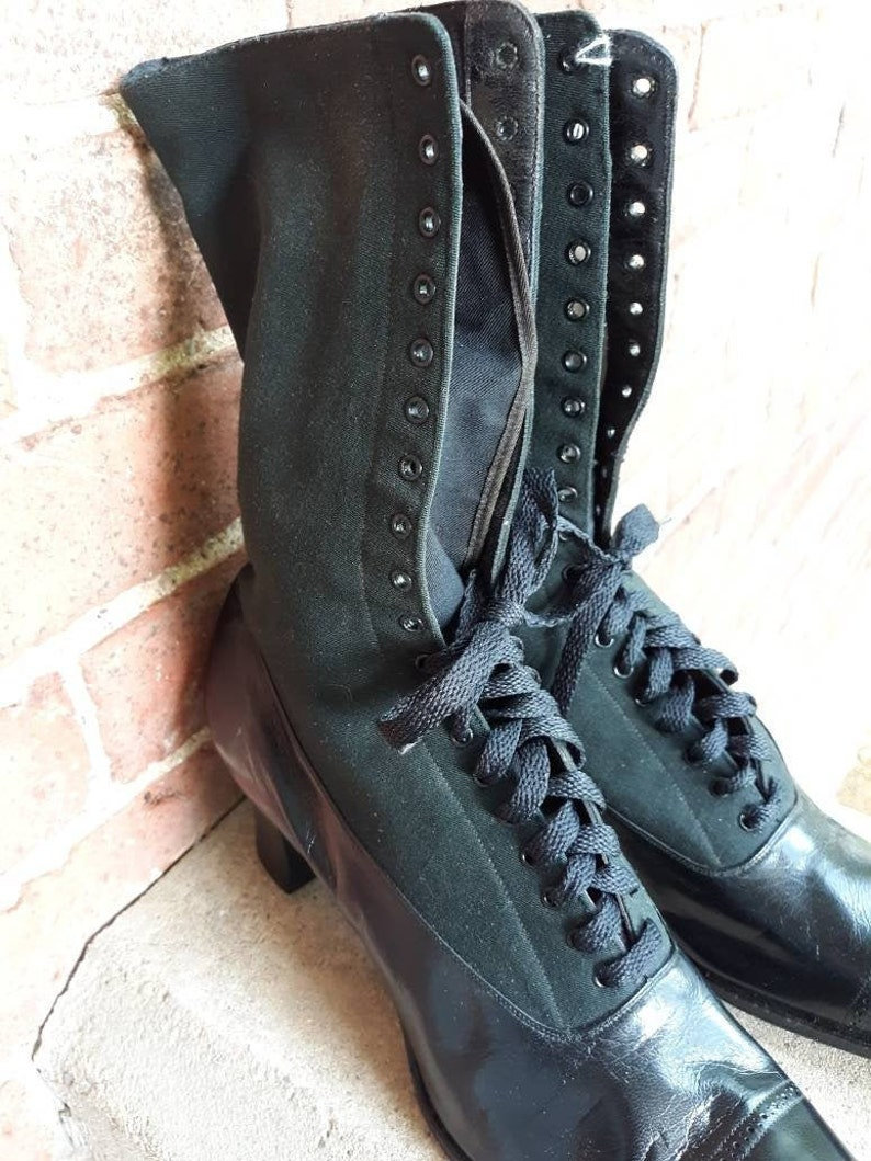 Amazing vintage lace up granny witch boots Victorian dead image 0