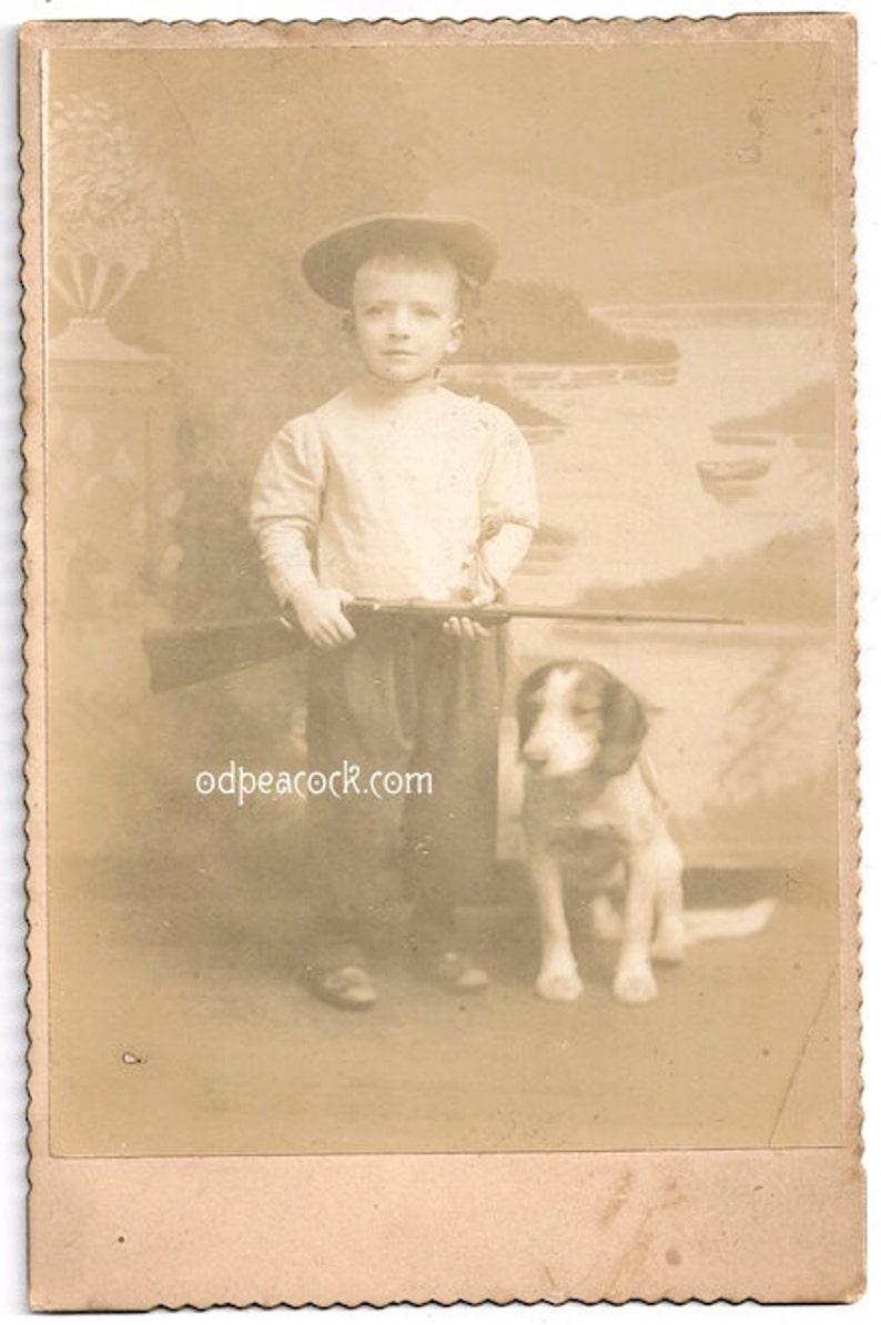 Cute boy with dog gun hunter Glen Rock PA. cabinet card beagle image 0