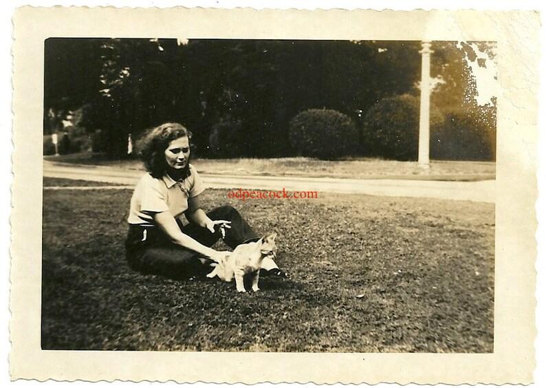 Vintage cat kitten woman smoking cigarette animal wearing image 0