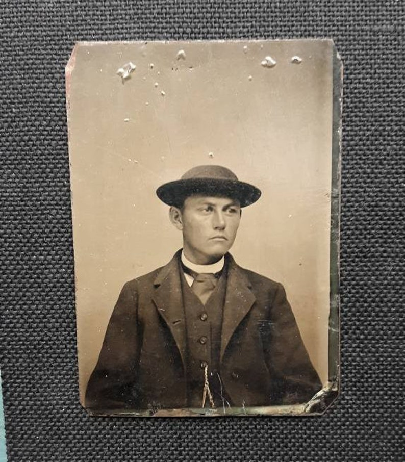 Dandy with hat Victorian fashion tintype portrait vintage image 0