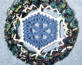OOAK primitive fiber wall hanging,  crochet wall art,  back to school gift, office cubicle dorm decor