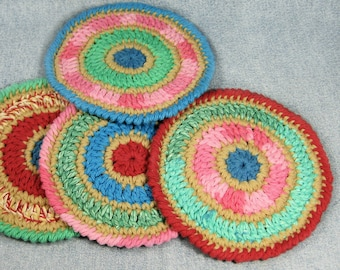 Colorful coaster set, modern crochet coasters, snack mat, ready to ship, dorm decor, office decor, absorbent coasters